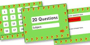 twenty questions powerpoint template 20 questions basic adaptable