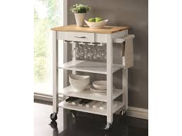 Kitchen Island And Carts by Coaster Kitchen Carts White Natural Kitchen Cart With Butcher