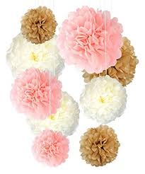tissue paper pom poms neutral pink gold decorations 9