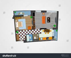 Furniture Floor Plan Template 3d Architectural Plan Layout Apartment Furniture Stock Vector