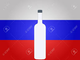 Eussian Flag Russian Flag With A Bottle Of Vodka Eps10 Royalty Free Cliparts