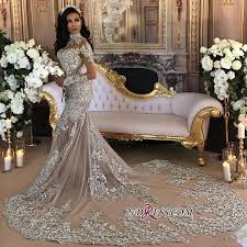 silver dresses for a wedding silver luxury lace sleeve mermaid high neck wedding dresses
