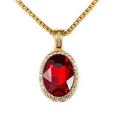 red stones necklace images Ice out star jewelry red stones gem pendants bling bling necklace jpg
