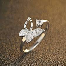 butterfly crystal rings images Buy fnj pure 925 silver ring butterfly crystal jpg