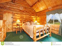 Log Floor by Cozy Bedroom In Log Cabin House Stock Photo Image 38327590