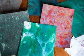diy marble paper with oil paints