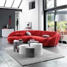canap arrondi cuir charmant canape en cuir contemporain roche bobois 3 canape design