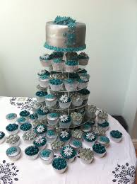 teal and silver wedding cake 80 cupcakes cakecentral com