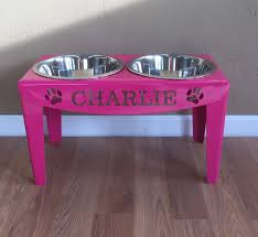 Wall Mount Pet Feeder Custom Personalized Elevated Dog Feeder Stand Large Raised Bowls