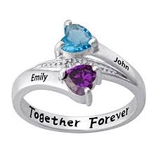 name ring personalized sterling silver s birthstone heart name ring