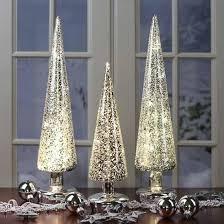 set of 3 silver northern lights mercury glass tree