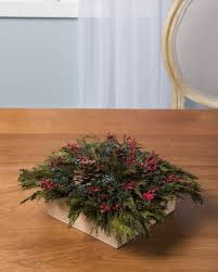preserved cedar square centerpiece christmas table centerpiece