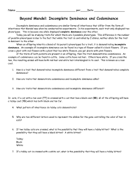 codominance and incomplete dominance worksheet worksheets