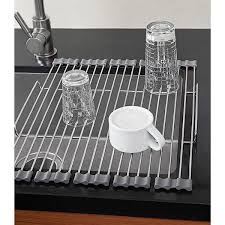 over the sink dish drying rack iris stainless foldable drying rack the container store