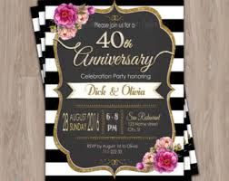 40th anniversary invitations 40th anniversary invitations etsy ie