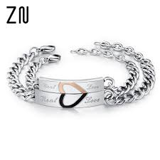 metal bracelet charms images Zn 1pc love couple bracelets stainless steel jewelry charms lovers jpg