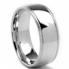 mens stainless steel wedding bands oliveti stainless steel classic dome millegrained wedding band