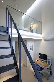 Industrial Modern House Home Design Between Levels With Black Steel Stair And Small Work