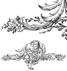 antique floral scroll ornament engraving vector 144839 by