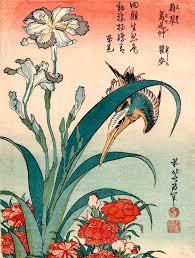 Japanese Flower Artwork - japanese birds flowers art prints kingfisher and iris hokusai