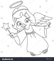 outlined christmas angel coloring page stock vector 118437946