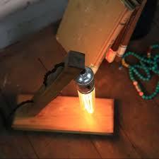 loft vintage industrial wood base table lamp loft desk reading