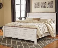 White Rustic Bedroom Furniture Two Tone King Panel Bed In Washed White Finish With Rustic Top