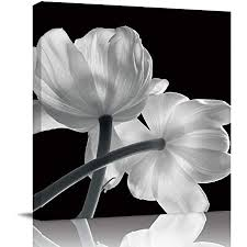black and white kitchen framed pictures painting canvas wall x floral tulip