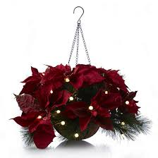 christmas hanging baskets with lights bethlehem lights pre lit hanging basket with poinsettia faux flowers