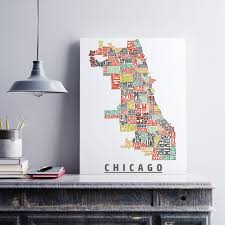 Chicago Map Art by Chicago Canvas Art Typography Map Art Formed From Chicago