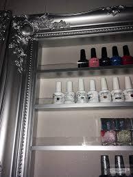 nail polish display frame rack silver chrome with an acrylic lip