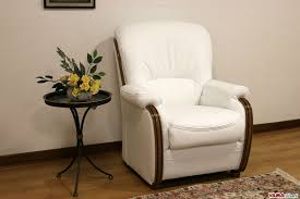 White Leather Arm Chair High Back Wood Trimmed Sofa