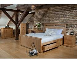 Oak Bed Frame Lacoste Oak Bed Frame With Storage Snuginteriors
