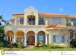 Spanish Home Plans Spanish Style Waterfront Home Stock Photography Image 17929452