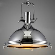 Chrome Light Pendant Nautical Style 1 Light 15 75 U0027 U0027 Wide Frosted Glass Indoor Lighting