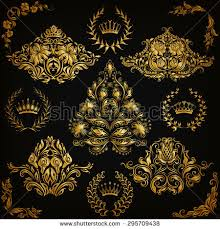 set gold damask ornaments floral element stock vector 298686872