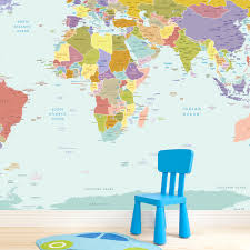 world map wallpaper mural for kids room