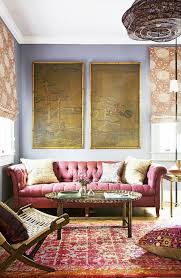 Tapestry Sofa Living Room Furniture Tufted Raspberry Sofa In Pattern Packed Living Room With Tapestry