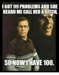99 Problems Meme - i got 99 problems and she heard me call her a bitch soinowhave 100