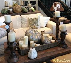 decorating pottery barn living room with wicker tray on rustic