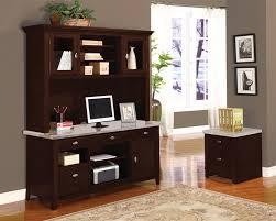 espresso desk with hutch 2 piece marble top credenza and hutch in espresso finish by acme 92012