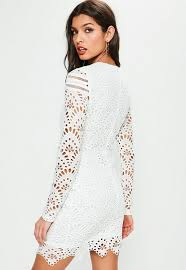 white lace dress white lace sleeve cross waist dress missguided ireland