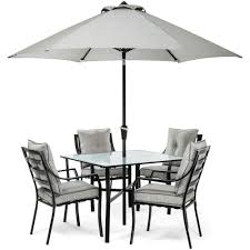 Patio Furniture Dining Sets With Umbrella - hanover lavallette black steel 5 piece outdoor dining set with