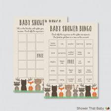 woodland baby shower bingo cards prefilled bingo cards and