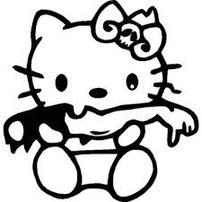 hello kitty zombie eating arm vinyl sticker for your wall car or