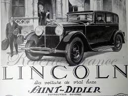 art deco vintage french ad lincoln automobile by reveriefrance