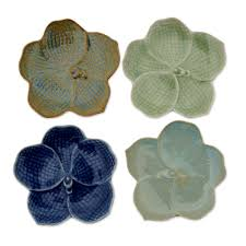 celadon ceramic dessert plates set of 4 orchids novica