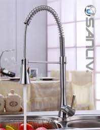 stylish spring pull down kitchen faucet chrome finish solid brass