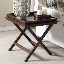 tray top end table amazing dar home co josephine tray top end table in brown and