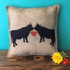 Cow Decor 14x14 Cow Love Natural Burlap Fringe Pillow Farm Animal Decor Cow